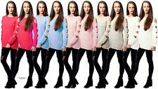 Ladies Women's Cold Shoulder Cut Out Long Sleeves Chunky Knitted Jumper Sweater