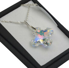 925 Silver Necklace made with Swarovski Crystals *CRYSTAL AB* Greek Cross 14-28