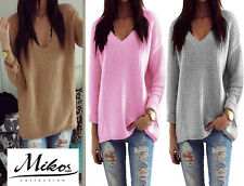Mujer cuello pico Jersey Winter Informal Larga De Punto Top Outwear S/M 627