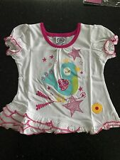 BNWOT GIRLS CHAD VALLEY BIRD PRINT WHITE SHORT SLEEVED T-SHIRT AGE 18-24 MONTHS