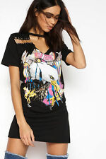 Womens New Ladies Pin Eagle Neck T-shirt Dress Over Sized Casual Slogan Loose UK