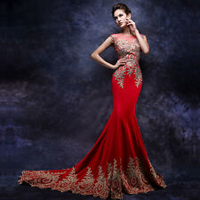 Red Embroidery Mermaid Taffeta Wedding Dress Bridal Gown Size:6 8 10 12 14 16 18