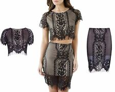 New Womens Bralet Crochet Lace Crop top & Skirt Ladie Two Piece Co-Ord Dress Set