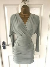 Mint Green Ruched Bodycon Evening Party Mini Sexy Wiggle Stretch Dress £45