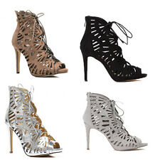 WOMENS LADIES HIGH HEEL LACE UP PEEP TOE ANKE SANDALS BOOTS SHOES SIZE 2-7