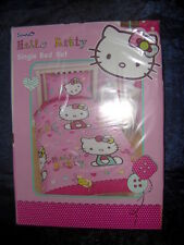 HELLO KITTY - GIRLS SINGLE DUVET SET IN PINK   - With matching pillowcase