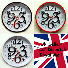 Quiet Sweep Quartz Modern 3D Look Wall Clock Round 25cm Large Number Lounge Room