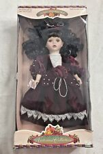 NEW IN BOX Victorian Collection Porcelain Doll Brunette Red Dress