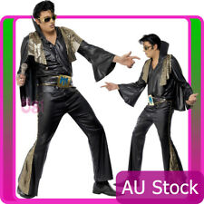 Mens Elvis Presley Black Gold Costume Rock and Roll 50s 1950s Rock n Star Outfit