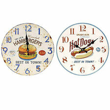 Hot dogs & Hamburgers clocks Round wall hanging MDF 34cm wide US Retro Colourful