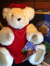 Vermont Teddy Bear Valentine Holiday Bear Jointed White Blue Eyes NTW & Box USA
