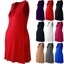 Womens Ladies V Neck Skater Maternity Knot Neck Baggy Loose Fit Swing Top Dress