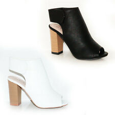 WOMENS LADIES PEEP TOE BLOCK HEELS OPEN BACK ANKLE BOOTS SHOES SANDALS SIZE 3-8