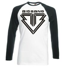 Big Bang , Coreano, K-POP Logotipo Raglán, manga larga camiseta de béisbol