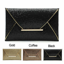 Ladies Bridal Party Evening Prom Envelope Sequins Clutch Bag Handbag Purse #A