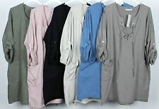 LADIES LACE TIE NECK SOFT FABRIC QUIRKY LAGENLOOK PLAIN COMFY POCKET TUNIC TOP