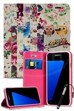 For Samsung Galaxy S7 Edge Duos Dual SIM Printed Flower Magnetic Case & Ret Pen