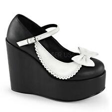Demonia Poison 04 Ladies Black White Bow Goth Platform Buckle Wedge Shoes