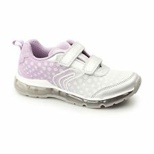 GEOX JR ANDROID Girls Dual Touch Fasten Light Up Trainers Silver/Light Lilac