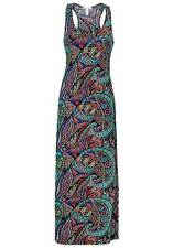 NEW Ambience Apparel Ladies Colourful Paisley Print Sleeveless Fitted Maxi Dress