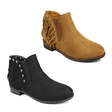 WOMENS LADIES CASUAL  BLOCK HEEL BIKER CHELSEA TASSLE ANKLE BOOTS SHOES SIZE 3-8