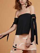 C/MEO Collective Charged Up Bardot Black Strapless Off Shoulder Tie Blouse Top