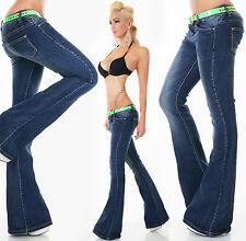 Sexy New Women's Navy Blue Bootcut Flare Cut Stretchy Jeans Trousers M 005