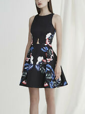 Keepsake The Other Side Mini Dress Black skater Floral Print Scalloped Wedding