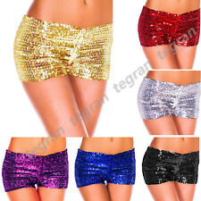 Sexy Metallic Sequins Clubwear Party Stretch Shorts Hot Pants. UK Size 8 - 12