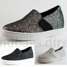 New Womens Flat Casual Walking Sneakers Slip On Trainers Low Hidden Wedge Shoes