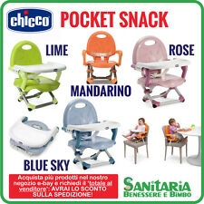 CHICCO RIALZO SEDIA POCKET SNACK - VERDE LIME - ROSE - BLUE SKY