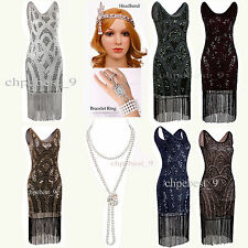 1920s Flapper Dress Gatsby Sequin Beads Fringe Cocktail Party Costume 4 12 16 18