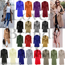 Women Ladies Italian Long Belted Jacket French Trench Waterfall coat UK 8-16