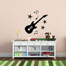 Guitar With Stars And Musical Notes Set Of Silhouettes Wall Art Decal  Stickers Part 45