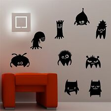 Fun Monsters Set Of Nine Silhouettes Wall Art Decal Stickers Part 66