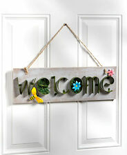 Rustic Welcome Wall Plaque Hummingbird Bee Spring Floral Garden Welcome Sign