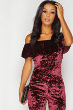 BARDOT WINE CRUSHED VELVET STUNNING STRETCH JUMPSUIT BNWT 8-14 RRP £70