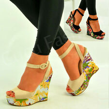 New Womens Floral Print Wedges Ladies Ankle Strap Sandals Summer Shoes Size Uk