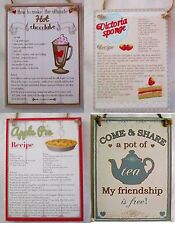 Kitchen Wooden Hanging Recipe Plaques Shabby Chic Style- 4 to choose from- New