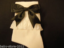 GORGEOUS GIRLS  FRILLY LACE  CREAM   SOCKS  WITH  LARGE   BLACK   3  INCH  BOWS