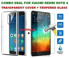 Combo Transparent Cover + Tempered Glass Pack For Xiaomi MI Redmi NOTE 4