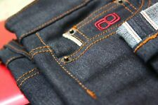 Men's 12oz dry/raw Japanese Selvedge denim/jean stretch pant slimfit indigo blue