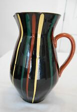 Mid Century 1950s Vintage Czech Art Pottery Hand Painted Pitcher Stripes 9 1/2""