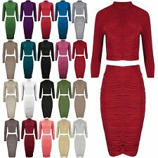 Ladies Womens Celebrity Turtle Neck Top Slinky Ruched Skirt Inspired Co-Ord Set