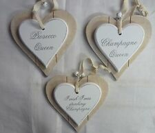 Double Layer Solid Wood Hanging Shabby Chic Love Heart with Bells  - Champagne