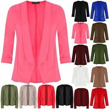 Ladies Womens 3/4 Turn Up Sleeve Open Front Casual Collared Blazer Jacket Coated