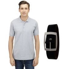 Haltung Men's Slim Fit Grey Polo T-Shirt With Free Belt (HAL-M-GREY-TSHIRT-BELT)