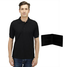 Haltung Men's Black Polo T-Shirt With Free Wallet (HAL-M-BLACK-TSHIRT-WALLET)