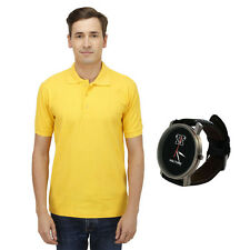 Haltung Men's Yellow Polo T-Shirt With Free Watch (HAL-M-YELLOW-TSHIRT-WATCH)