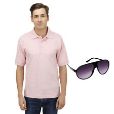 Haltung Men Pink Polo Tshirt With Free Sunglasses (HAL-M-PINK-TSHIRT-SUNGLASSES)